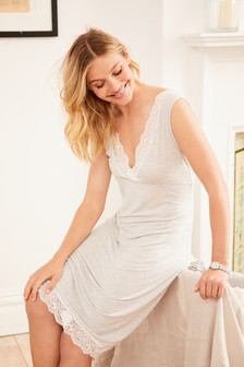 Grey Stripe Modal Slip With Lace