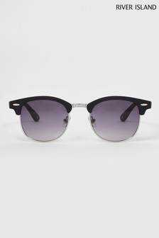 River Island Black Matte Smoke Club Master Sunglasses