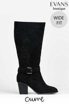 Evans Curve Wide Fit Black High Heeled Boots