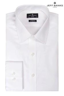 Jeff Banks White Semi Cutaway Collar Single Cuff Fit Shirt