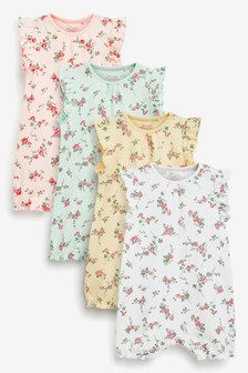 Pink/Blue 4 Pack Multi Floral Rompers (0mths-3yrs)