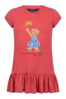 Ralph Lauren Girls Red Cotton Bear Dress