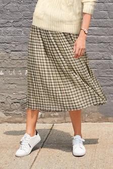 Ecru Check Pleated Skirt