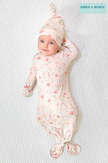 aden + anais Comfort Knit Knotted Gown And Hat Gift Set