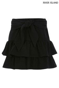 River Island Black Tie Belt Rara Skirt