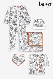 Baker by Ted Baker Leaf Print Sleepsuit, Hat, Bib And Blanket Set