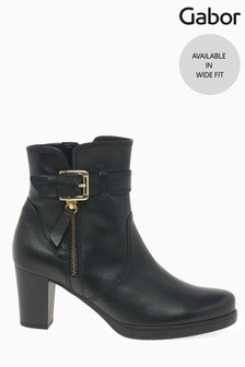 Gabor Black Wanda Wide Foot Fit Leather Ankle Boots