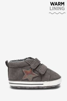 Charcoal Star Warm Lined Pram Booties (0-18mths)