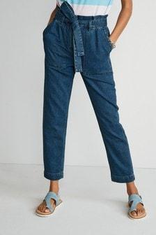Dark Blue Paperbag Belted Tapered Jeans