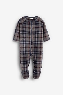Blue Check Fleece Sleepsuit (0mths-3yrs)