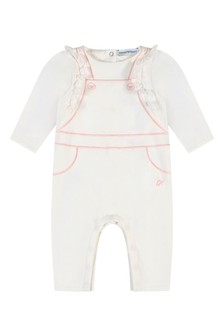 Baby Girls White Cotton Romper