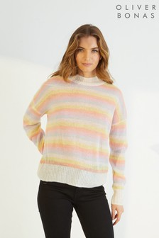 Oliver Bonas Yellow Striped Lofty Knitted Jumper