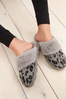 Grey Animal Mule Slippers