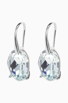 Sterling Silver/Aqua Drop Earrings With Swarovski® Crystals