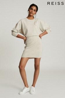 Reiss Grey Alexa Knitted Sweat Dress