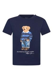 Baby Boys Navy Cotton Jersey Bear T-Shirt