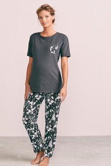 Grey Floral Maternity Pyjamas