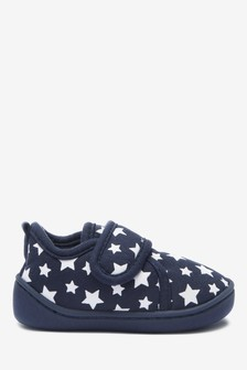 Navy Star Strap Touch Fasten Cupsole Slippers (Younger)
