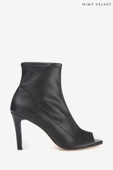 Mint Velvet Black Dee Peep Toe Sock Boots