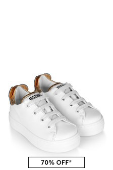 Kids White/Gold Leather Teddy Trainers