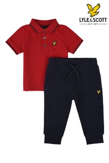 Lyle & Scott Red Tipped Polo and Joggers Set