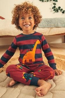 Plum/Blue Stripe Dino 3 Pack Snuggle Pyjamas (9mths-12yrs)