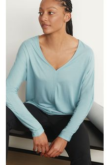 Blue Long Sleeve Slouch Sports Top