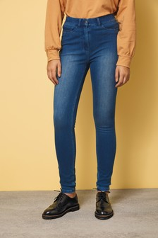 Dark Blue Fly Fasten Jersey Denim Leggings