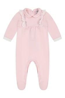 Girls Pink Cotton Frilly Trim Babygrow