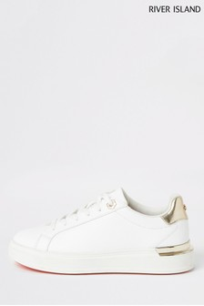 River Island White Chunky Flat Lace-Up Shoes