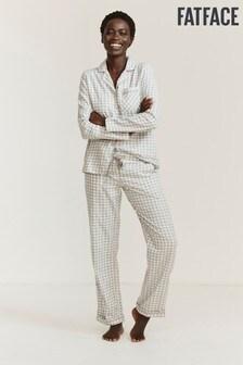 FatFace Grey Twill Gingham Pyjama Set