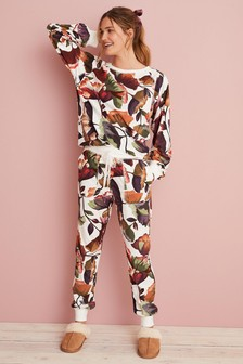Cream Floral Cosy Supersoft Pyjama Set
