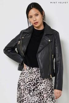 Mint Velvet Black Fitted Leather Jacket