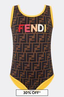 Fendi Kids Girls Brown Swimsuit