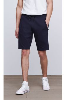 Navy Straight Fit Zip Pocket Jersey Shorts