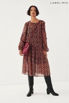 Second Female Hilma Printed Midi Dress