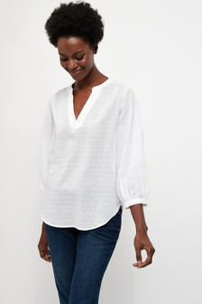 White 3/4 Sleeve Overhead Blouse