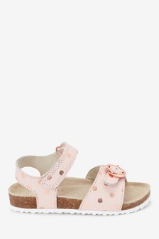 Pink Corkbed Leather Buckle Sandals (Younger)