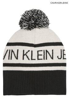 Calvin Klein Jeans Black Institutional Logo Bobble Beanie