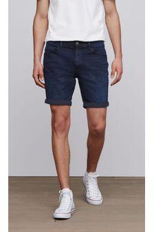 Indigo Straight Fit Denim Shorts