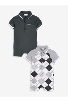 Monochrome 2 Pack Stripe Polo Rompers (0mths-3yrs)