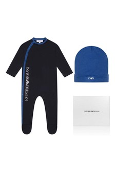 Boys Navy Cotton Babygrow Set