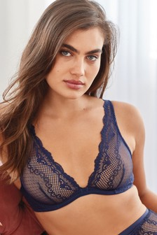Navy Non Padded Lace Balcony Bra