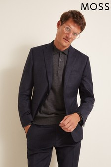 Moss 1851 Performance Tailored Fit Navy Milled Check Jacket