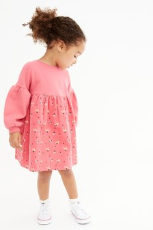 Pink Ditsy Cord Raglan Sleeve Dress (3mths-7yrs)