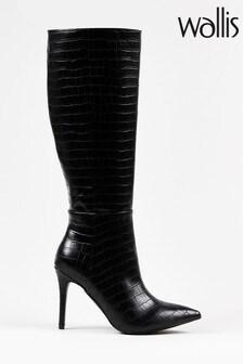 Wallis President Black Croc High Leg Boots