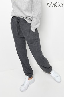 M&Co Grey Ribbed Cuff Joggers