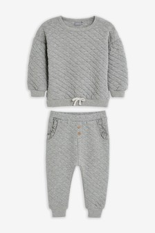Grey Quilted Sweat Top And Joggers Set (3mths-7yrs)