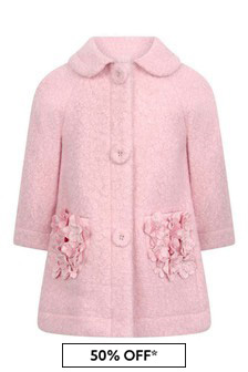 Baby Girls Pink Bouclé Flower Coat