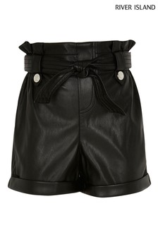River Island Black Paperbag Shorts